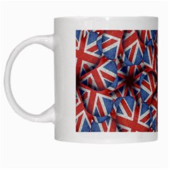 Heart Shaped England Flag Pattern Design White Coffee Mug