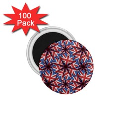 Heart Shaped England Flag Pattern Design 1 75  Button Magnet (100 Pack)