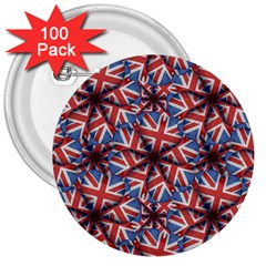 Heart Shaped England Flag Pattern Design 3  Button (100 Pack)