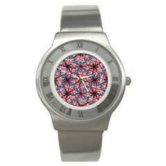Heart Shaped England Flag Pattern Design Stainless Steel Watch (slim)