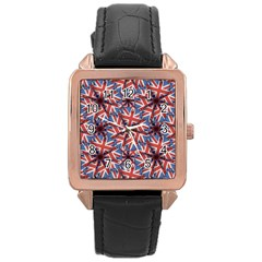 Heart Shaped England Flag Pattern Design Rose Gold Leather Watch