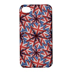 Heart Shaped England Flag Pattern Design Apple Iphone 4/4s Hardshell Case With Stand