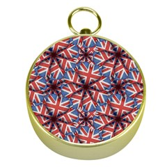 Heart Shaped England Flag Pattern Design Gold Compass
