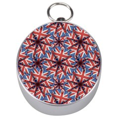 Heart Shaped England Flag Pattern Design Silver Compass