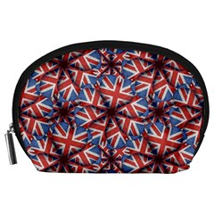 Heart Shaped England Flag Pattern Design Accessory Pouch (Large)