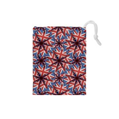 Heart Shaped England Flag Pattern Design Drawstring Pouch (small)