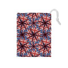 Heart Shaped England Flag Pattern Design Drawstring Pouch (Medium)