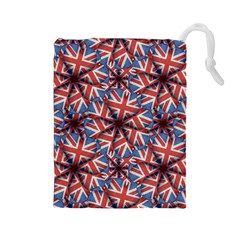 Heart Shaped England Flag Pattern Design Drawstring Pouch (Large)