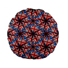 Heart Shaped England Flag Pattern Design 15  Premium Flano Round Cushion
