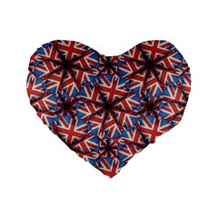 Heart Shaped England Flag Pattern Design 16  Premium Flano Heart Shape Cushion