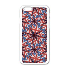 Heart Shaped England Flag Pattern Design Apple iPhone 6 White Enamel Case