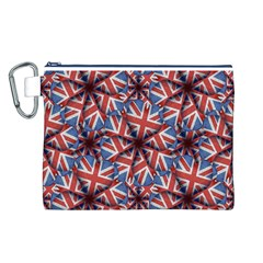 Heart Shaped England Flag Pattern Design Canvas Cosmetic Bag (Large)