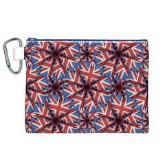 Heart Shaped England Flag Pattern Design Canvas Cosmetic Bag (xl)