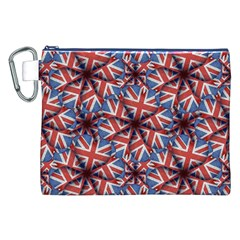 Heart Shaped England Flag Pattern Design Canvas Cosmetic Bag (XXL)