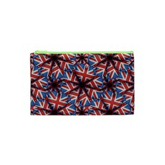 Heart Shaped England Flag Pattern Design Cosmetic Bag (xs)