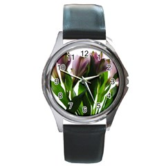 Pink Flowers On White Round Leather Watch (silver Rim)