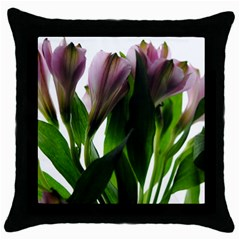 Pink Flowers On White Black Throw Pillow Case