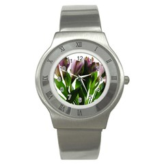 Pink Flowers On White Stainless Steel Watch (slim)