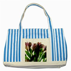 Pink Flowers On White Blue Striped Tote Bag