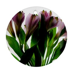 Pink Flowers On White Round Ornament (two Sides)
