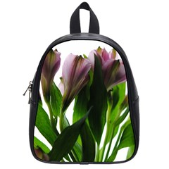 Pink Flowers On White School Bag (small)