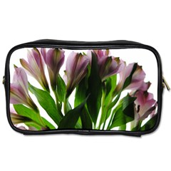 Pink Flowers On White Travel Toiletry Bag (one Side)