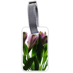 Pink Flowers On White Luggage Tag (one Side)