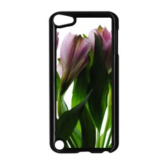 Pink Flowers On White Apple Ipod Touch 5 Case (black)