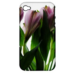 Pink Flowers On White Apple Iphone 4/4s Hardshell Case (pc+silicone)