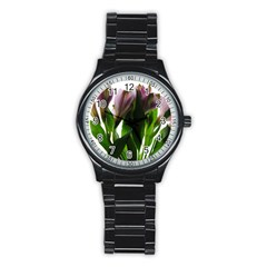 Pink Flowers On White Sport Metal Watch (black)