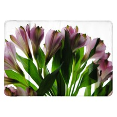Pink Flowers on White Samsung Galaxy Tab 8.9  P7300 Flip Case