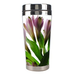 Pink Flowers On White Stainless Steel Travel Tumbler