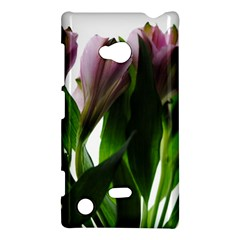 Pink Flowers On White Nokia Lumia 720 Hardshell Case