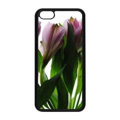 Pink Flowers On White Apple Iphone 5c Seamless Case (black)
