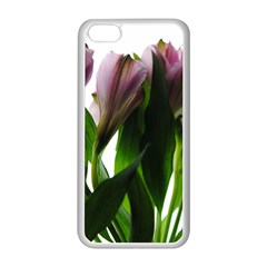 Pink Flowers on White Apple iPhone 5C Seamless Case (White)