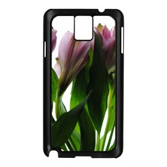 Pink Flowers on White Samsung Galaxy Note 3 N9005 Case (Black)