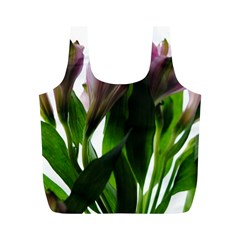 Pink Flowers on White Reusable Bag (M)