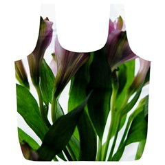 Pink Flowers on White Reusable Bag (XL)
