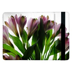 Pink Flowers On White Samsung Galaxy Tab Pro 12 2  Flip Case