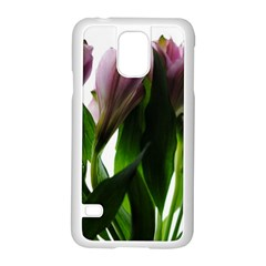 Pink Flowers on White Samsung Galaxy S5 Case (White)