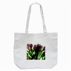 Pink Flowers on White Tote Bag (White)