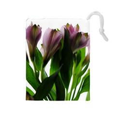 Pink Flowers on White Drawstring Pouch (Large)