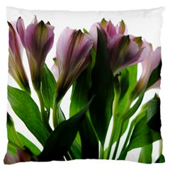 Pink Flowers on White Large Flano Cushion Case (One Side)