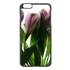 Pink Flowers on White Apple iPhone 6 Plus Black Enamel Case