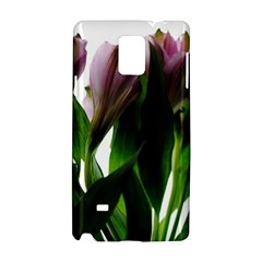 Pink Flowers On White Samsung Galaxy Note 4 Hardshell Case
