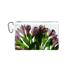 Pink Flowers on White Canvas Cosmetic Bag (Small)