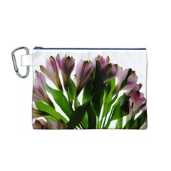 Pink Flowers on White Canvas Cosmetic Bag (Medium)