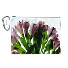 Pink Flowers on White Canvas Cosmetic Bag (Large)