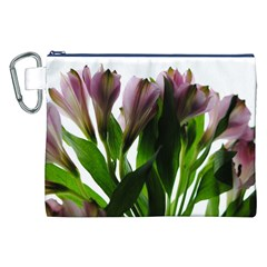 Pink Flowers on White Canvas Cosmetic Bag (XXL)