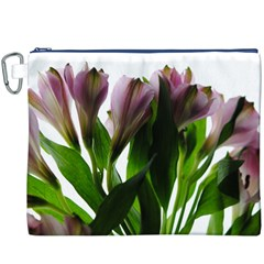 Pink Flowers on White Canvas Cosmetic Bag (XXXL)